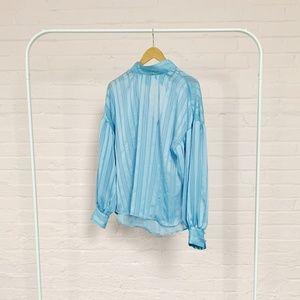 H&M blue vintage style blouse size 10